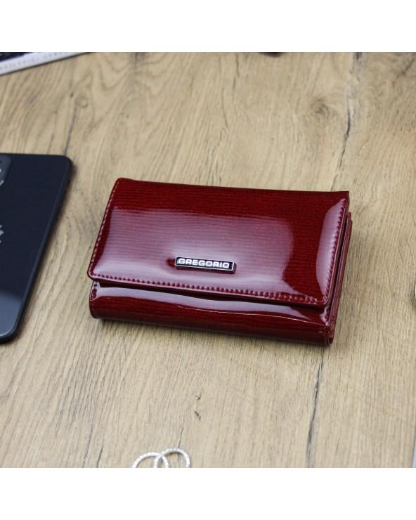 Damski portfel ze skóry naturalnej lakierowanej Gregorio czerwony