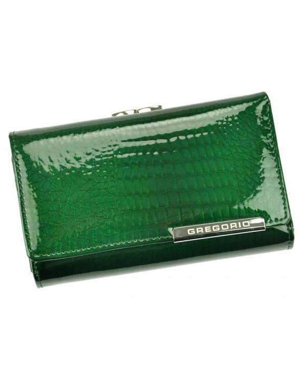Damski portfel skótzany croco Gregorio zielony