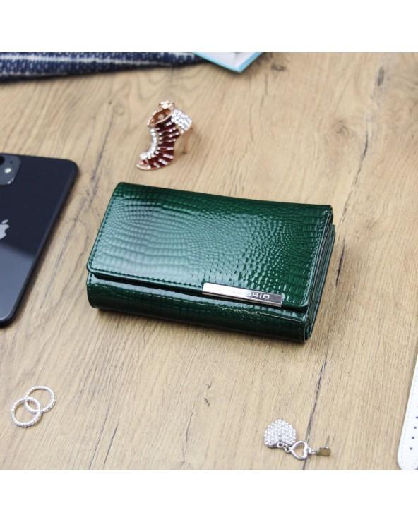 Damski portfel skótzany croco Gregorio zielony real photo