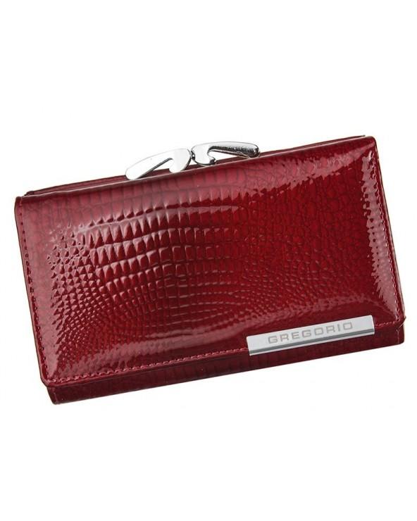 Damski portfel skórzany croco Gregorio czerwony