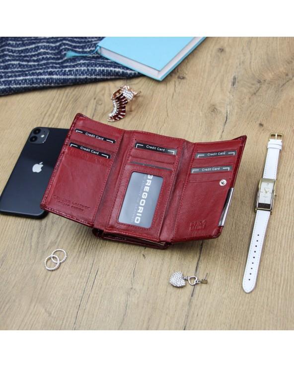 Damski portfel skórzany croco Gregorio czerwony wnetrze