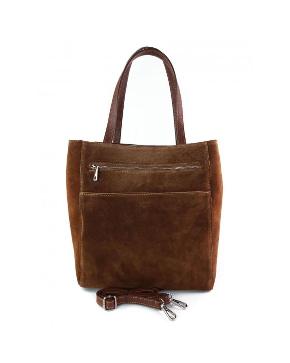 Torebka zamszowa włoska shopper bag brązowa