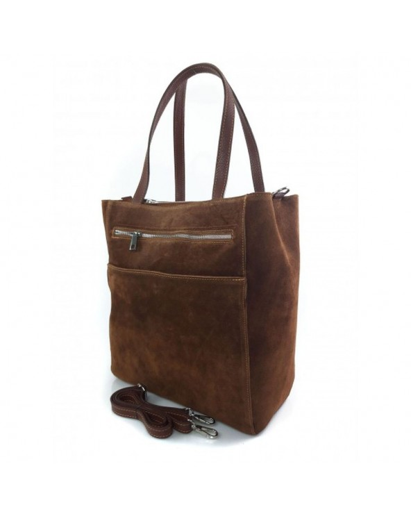 Zamszowy shopper bag brązowy brązowa torebka