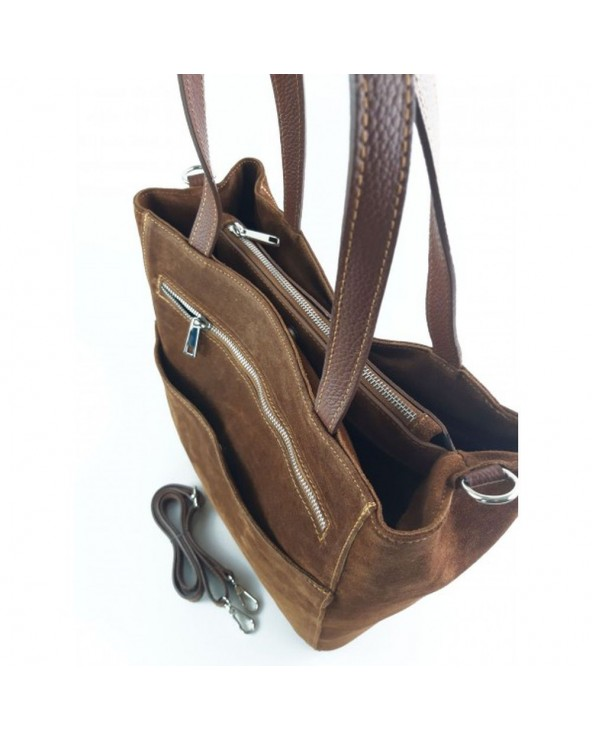 Torebka zamszowa włoska shopper bag brązowa wnętrze