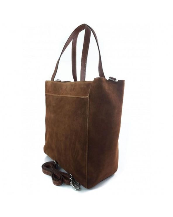 Torebka zamszowa włoska shopper bag brązowa tył