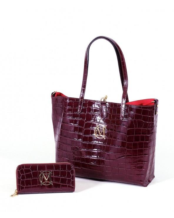 Torebka Massimo Contti duży shopper portfel croco śliwkowa fioletowa