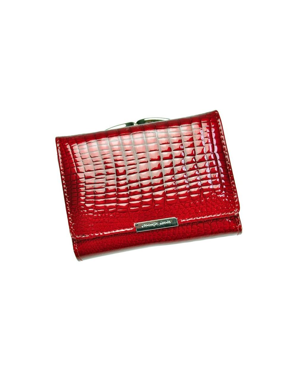 Damski portfel ze skóry lakierowanej croco Jennifer Jones czerwony