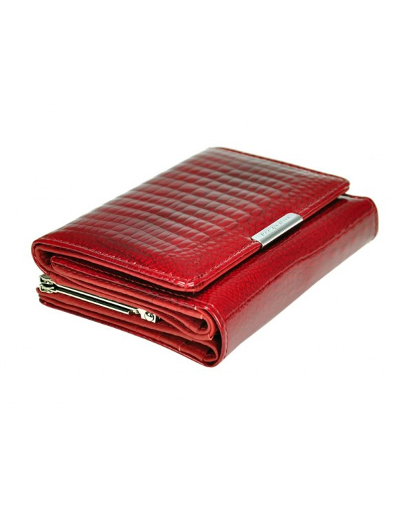 czerwony Damski portfel ze skóry lakierowanej croco Jennifer Jones