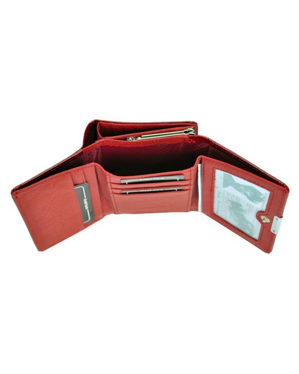 Damski portfel ze skóry lakierowanej croco Jennifer Jones czerwony wnętrze