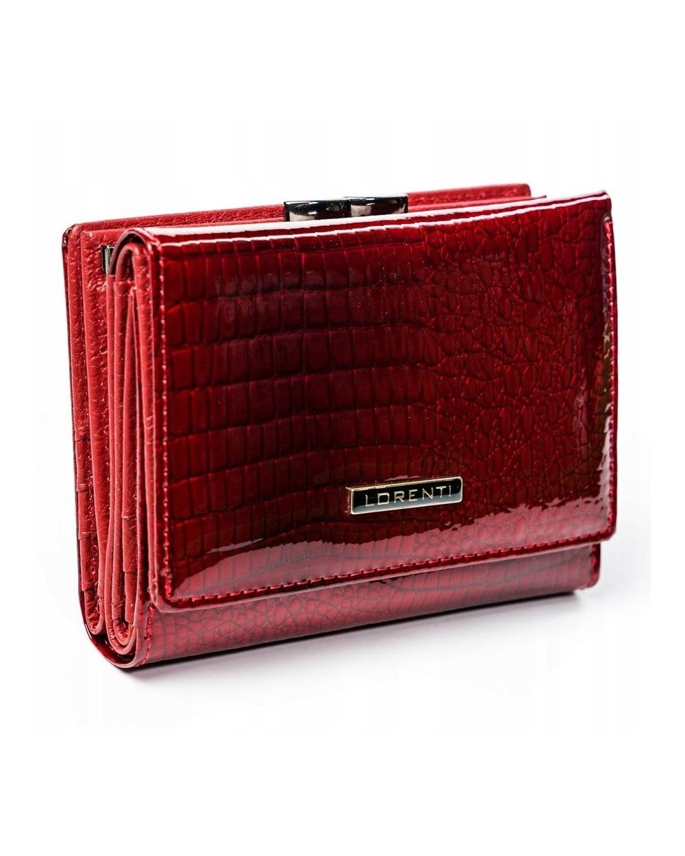 Damski portfel ze skóry lakierowanej croco Lorenti czerwony