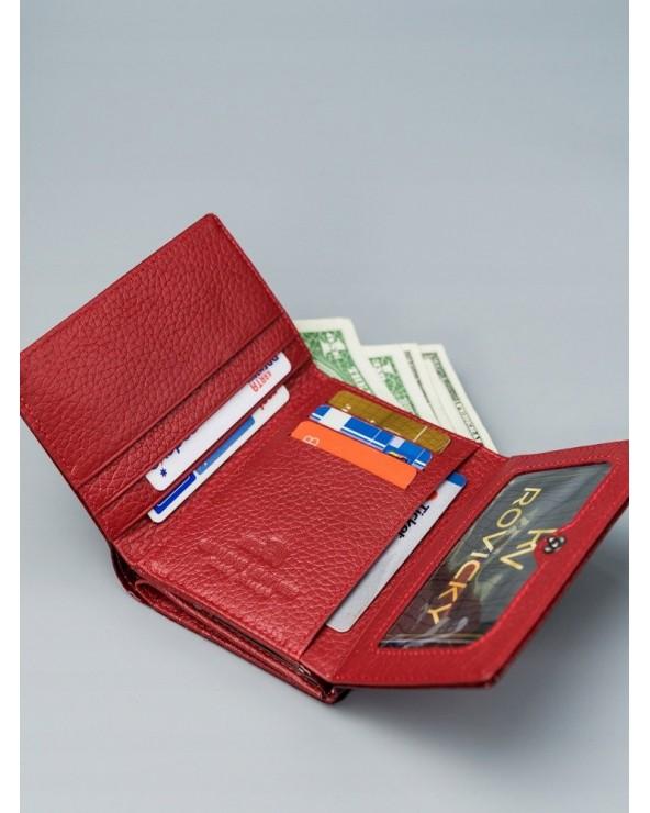 Damski portfel ze skóry lakierowanej croco Lorenti czerwony wnętrze