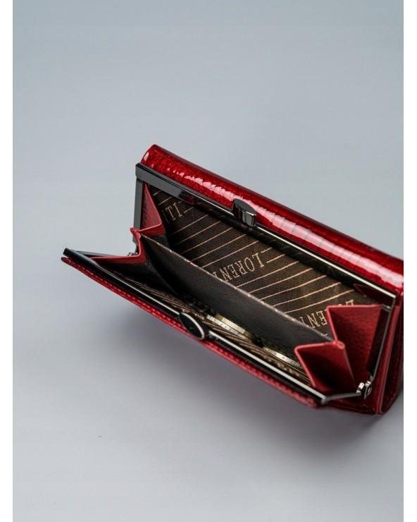 Damski portfel ze skóry lakierowanej croco Lorenti czerwony bigiel
