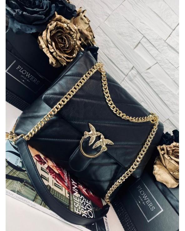 Pikowana torebka Big Puff czarna złote okucia