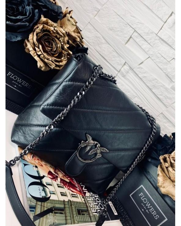 Pikowana torebka Big Puff czarna ciemne okucia okucia