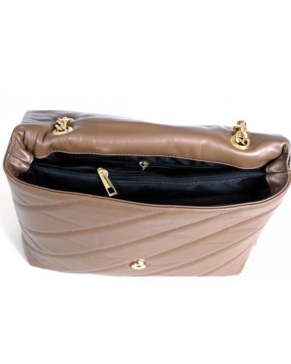 Pikowana torebka Big Puff taupe złote okucia wnętrze