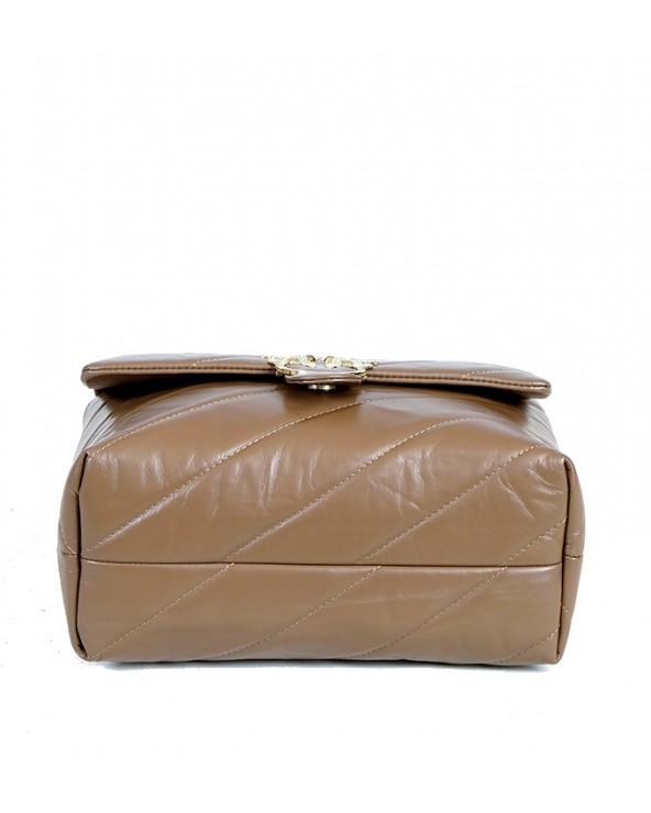Pikowana torebka Big Puff taupe złote okucia spód