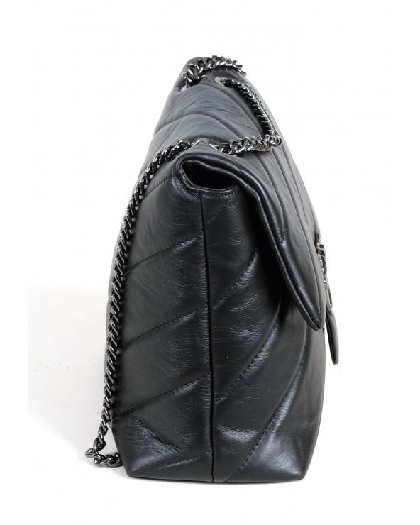 Pikowana torebka Big Puff czarna ciemne okucia okucia bok