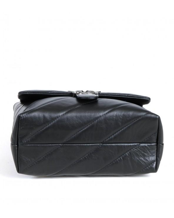 Pikowana torebka Big Puff czarna ciemne okucia okucia spód
