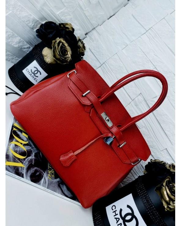 Klasyczna skórzana torebka kuferek a'la Hermes czerwona