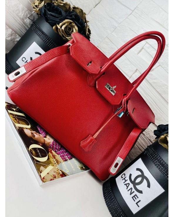Klasyczna skórzana torebka kuferek a'la Birkin czerwona