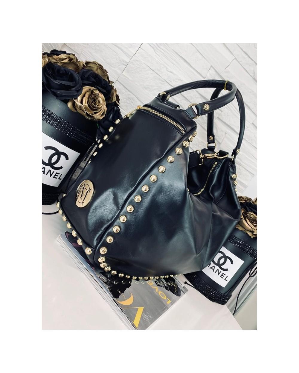Duża luksusowa torba z nitami Massimo Contti czarna