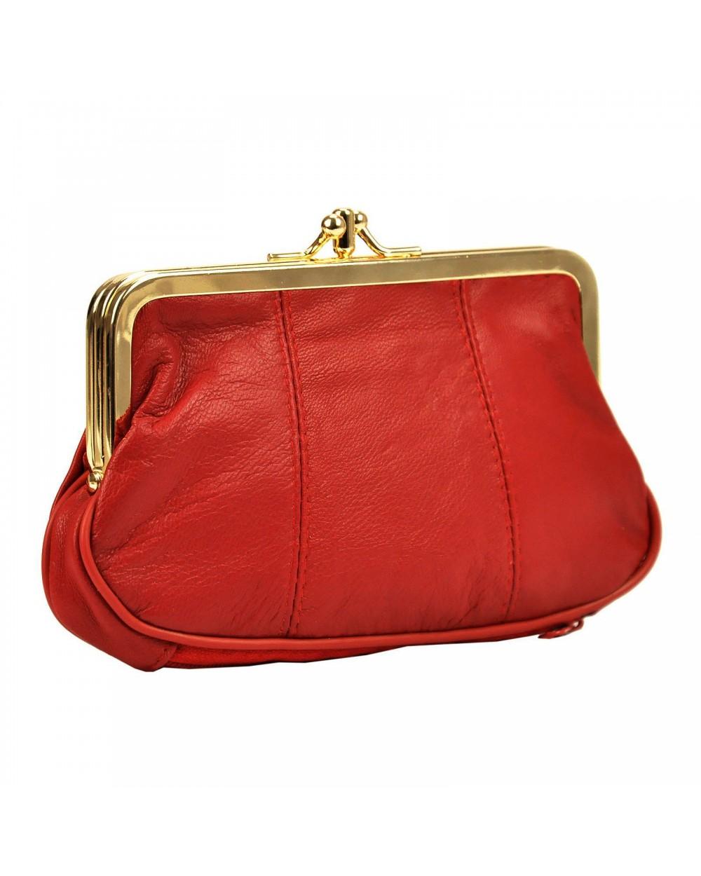 Babcinka Damski portfel skórzany z biglem czerwony