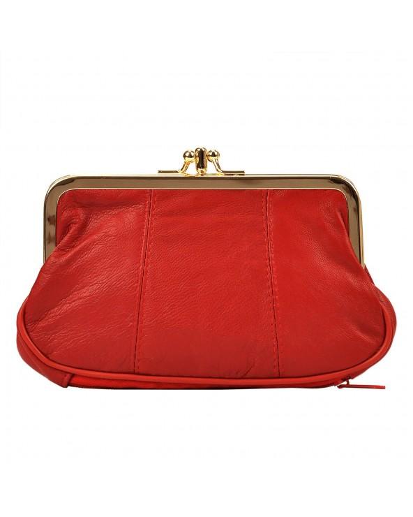 Babcinka Damski portfel z biglem czerwony