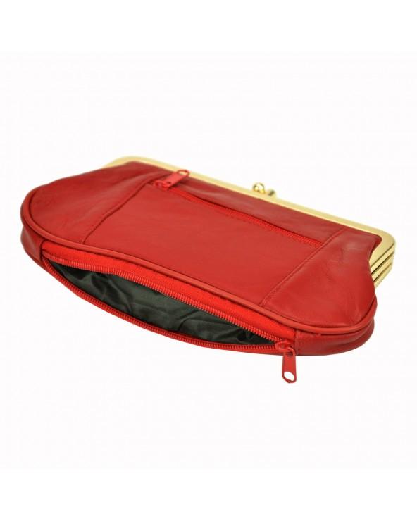 Babcinka Damski portfel skórzany z biglem czerwony spód