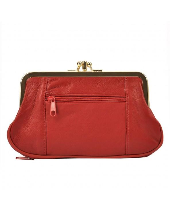 Babcinka Damski portfel skórzany z biglem czerwony tył