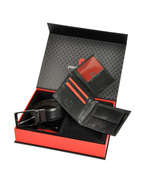 Zestaw prezentowy portfel i pasek dwustroony Pierre Cardin czarny wnętrze portfela