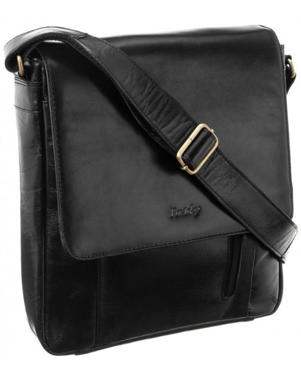 Męska torba skórzana Rovicky czarna raportówka 788-CCVT BLACK