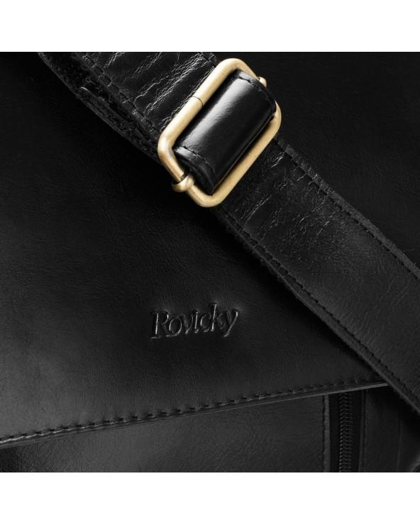Męska torba skórzana listonoszka Rovicky czarna raportówka środek wnętrze