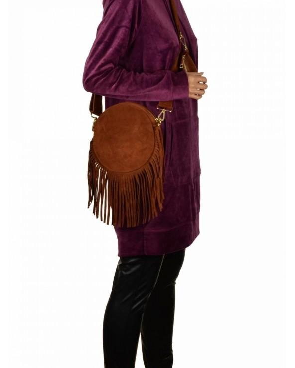 Okrągła zamszowa torebka listonoszka z frędzlami multi pochette koniakowa
