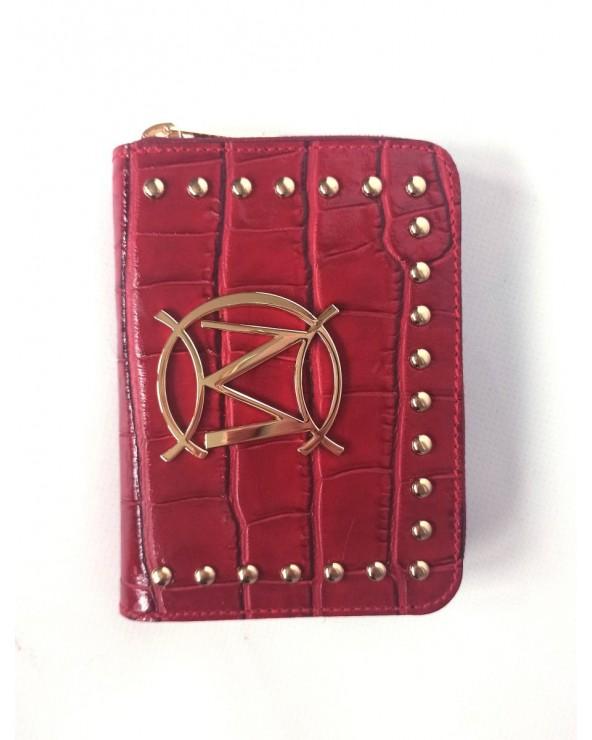 Czerwony mały portfel skórzany Massimo Contti croco