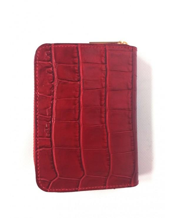 tył Czerwonego małego portfela skórzanego Massimo Contti croco