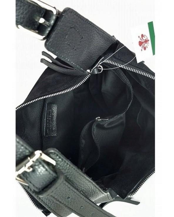 wnętrze Zamszowy worek torebka vera pelle czarna