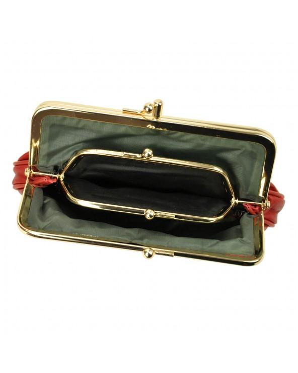 Babcinka Damski portfel skórzany z biglem czerwony wnętrze ze skrytką