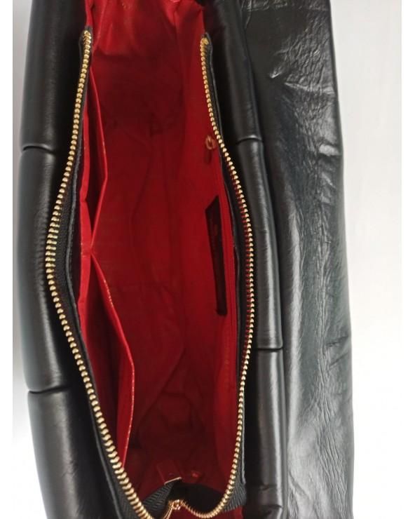 wnętrze Duża listonoszka skórzana Massimo Contti czarna