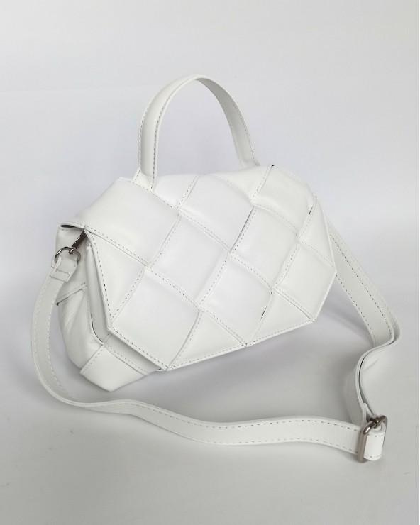 Skórzana torebka a'la Bottega Veneta pleciona z rączką biała