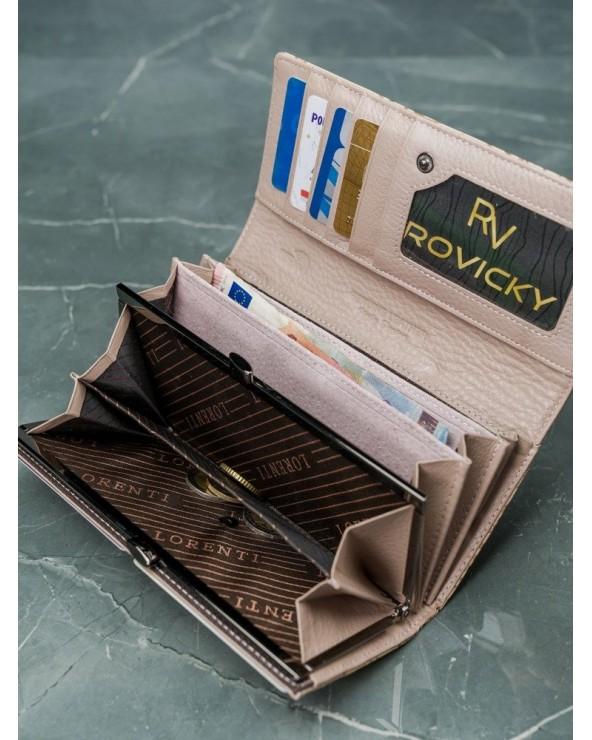 Damski portfel skórzany Lorenti liście beżowo-złoty otwarte wnętrze