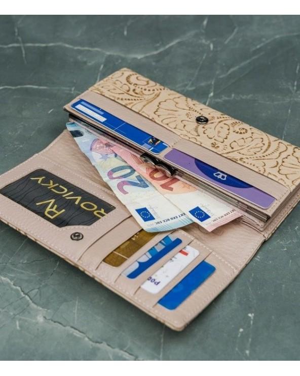 Damski portfel skórzany Lorenti liście beżowo-złoty środek