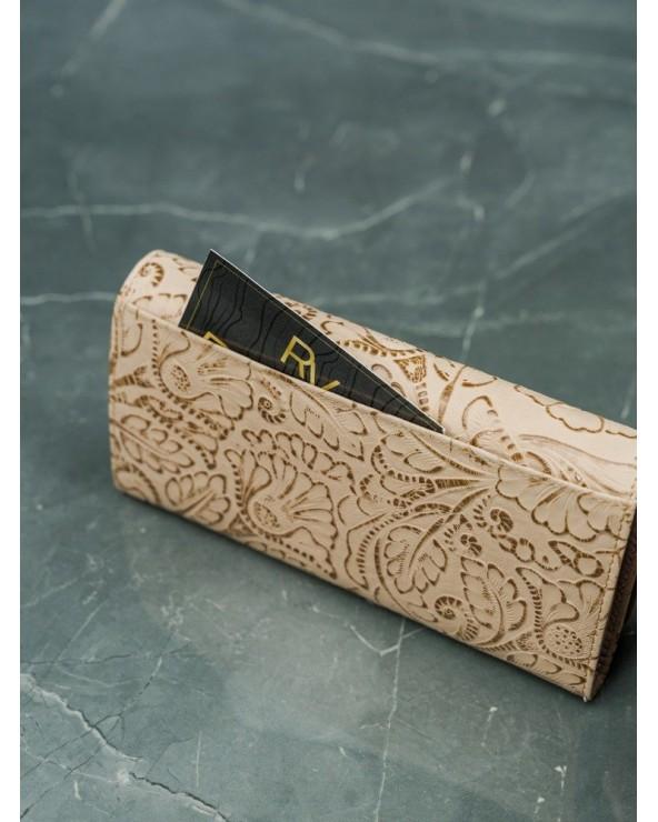 Damski portfel skórzany Lorenti liście beżowo-złoty tył