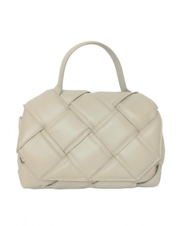 Skórzana torebka a'la Bottega Veneta pleciona z rączką ecru