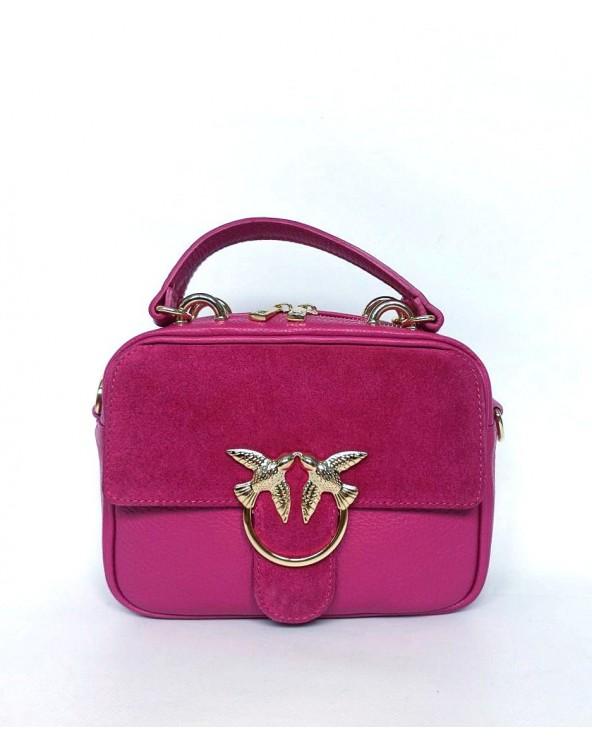 Skórzana torebka mały kuferek pinko Swallow fuksja