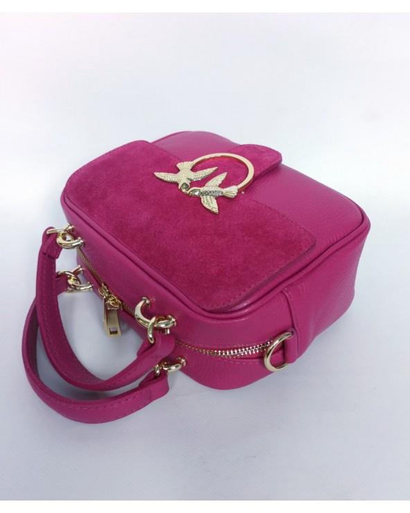 Skórzana torebka mały kuferek pinko z zamszem Swallow fuksja
