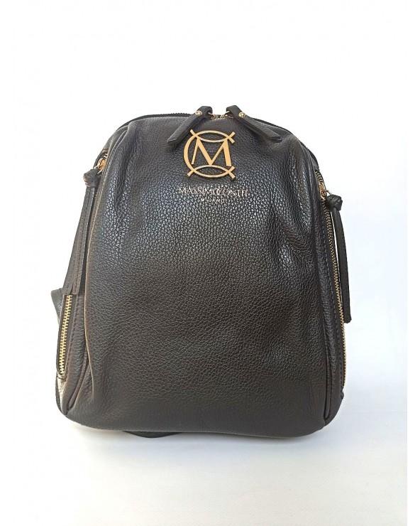 Plecak damski z suwakami Massimo Contti czarny ze skóry naturalnej
