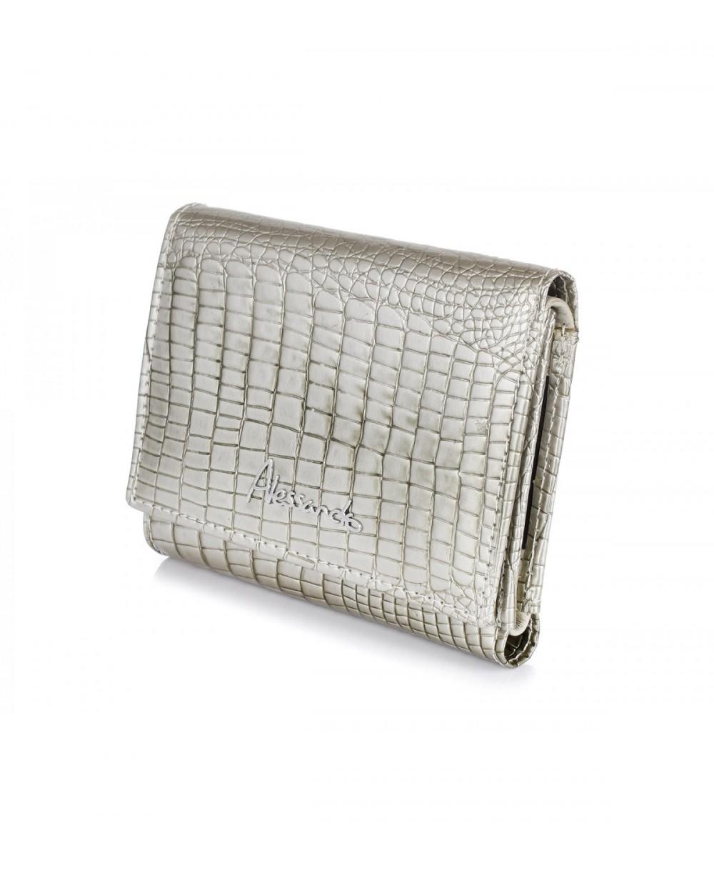 Mały damski portfel skórzany Alessandro Paoli srebrny