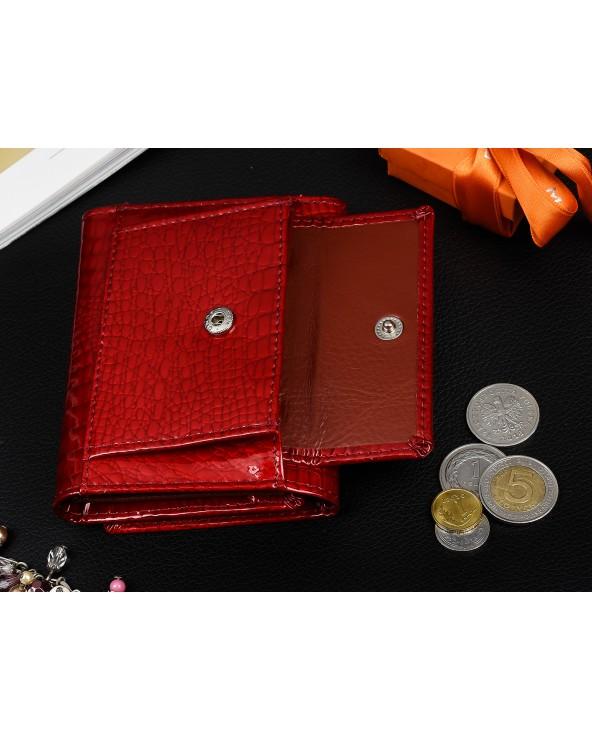 kieszeń na bilon Mały damski portfel skórzany Alessandro Paoli srebrny
