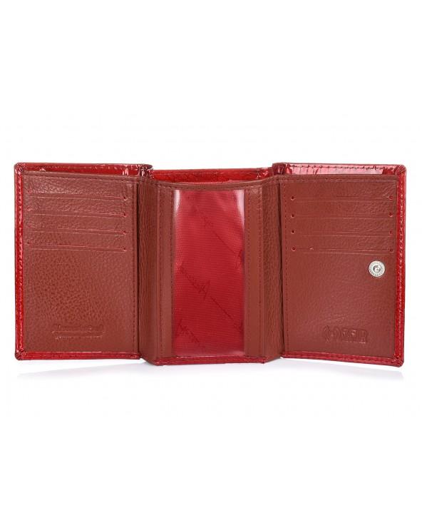 środek Mały damski portfel skórzany Alessandro Paoli srebrny
