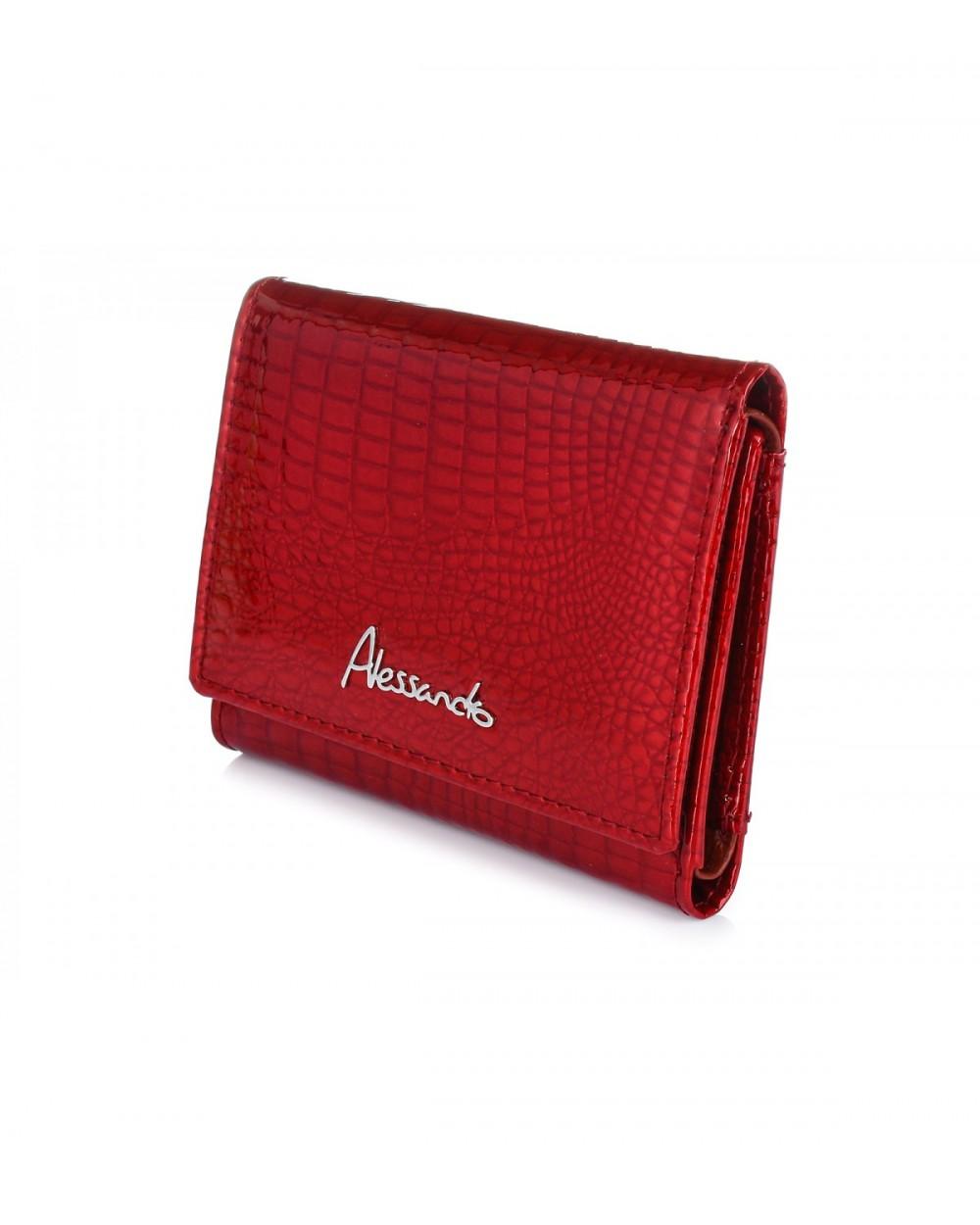 Mały damski portfel skórzany Alessandro Paoli czerwony